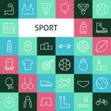 Linea piana Art Modern Sports di vettore ed icone di ricreazione messe Immagine Stock Libera da Diritti