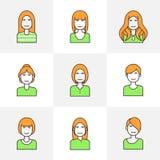Linea piana avatar della donna delle icone variopinto Fotografie Stock