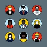 Linea piana avatar di vettore Icone maschii e femminili dell'utente Immagini Stock Libere da Diritti