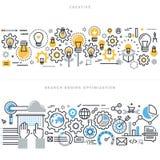 Linea piana concetti di progetto per il flusso di lavoro e SEO trattati creativi illustrazione di stock