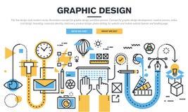 Linea piana concetto di progetto per il processo di flusso di lavoro di progettazione grafica Fotografie Stock Libere da Diritti