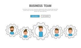 Linea piana concetto di progetto per la gente di affari di lavoro di squadra, usato per le insegne di web, immagini dell'eroe, ma Immagine Stock Libera da Diritti