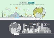 Linea piana conservazione di vita di eco di verde Fotografia Stock