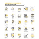 Linea piana contare e finanza delle icone Fotografia Stock Libera da Diritti