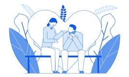 Linea piana conversazione romantica dei caratteri della gente, illustrazione sottile del fumetto moderno di stile di contorno Gio illustrazione di stock