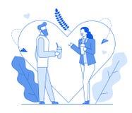 Linea piana conversazione romantica dei caratteri della gente, illustrazione sottile del fumetto moderno di stile di contorno Gio illustrazione vettoriale