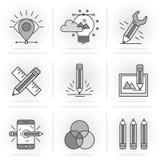 Linea piana creativa insieme dell'icona Immagine Stock Libera da Diritti