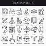 Linea piana creativa insieme dell'icona Immagine Stock