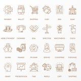 Linea piana creativa insieme dell'icona Immagini Stock