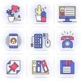 Linea piana creativa insieme di icona Immagine Stock