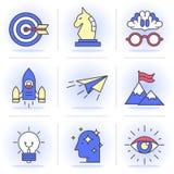 Linea piana creativa insieme di icona Immagine Stock Libera da Diritti