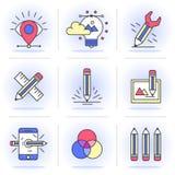Linea piana creativa insieme di icona Fotografie Stock Libere da Diritti