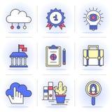 Linea piana creativa insieme di icona Immagini Stock
