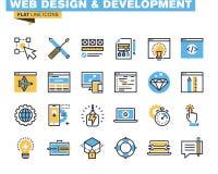 Linea piana d'avanguardia pacchetto dell'icona per i progettisti e gli sviluppatori Fotografie Stock