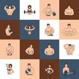 Linea piana delle icone della palestra di forma fisica di culturismo Fotografie Stock Libere da Diritti
