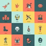 Linea piana delle icone di musica rock Fotografia Stock Libera da Diritti