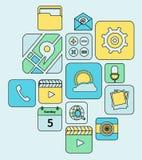 Linea piana delle icone mobili di applicazioni Immagini Stock Libere da Diritti