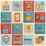 Linea piana delle icone mobili di attività bancarie Fotografia Stock Libera da Diritti