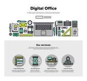 Linea piana grafici dell'ufficio di Digital di web Fotografia Stock Libera da Diritti