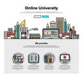 Linea piana grafici della città universitaria di Internet di web Immagine Stock Libera da Diritti