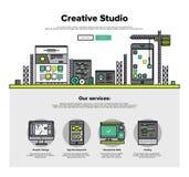 Linea piana grafici dello studio creativo di web illustrazione vettoriale