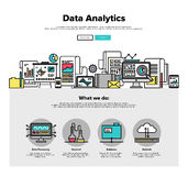 Linea piana grafici di analisi dei dati di dati di web Immagine Stock Libera da Diritti