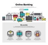 Linea piana grafici di attività bancarie online di web Fotografie Stock