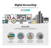 Linea piana grafici di contabilità di Digital di web Fotografia Stock Libera da Diritti