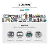 Linea piana grafici di e-learning di web Immagine Stock