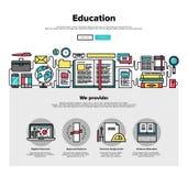 Linea piana grafici di istruzione di web Fotografia Stock Libera da Diritti