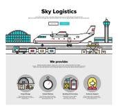 Linea piana grafici di logistica dell'aeroplano di web Immagine Stock