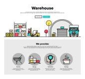 Linea piana grafici di stoccaggio del magazzino di web Fotografia Stock