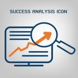 Linea piana icona di analisi del sito Ricerca di SEO (ottimizzazione del motore di ricerca) Grafico, statistiche finanziarie, con Fotografie Stock Libere da Diritti