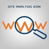 Linea piana icona di analisi del sito Ricerca di SEO (ottimizzazione del motore di ricerca) Linee blu ed arancio laconiche su fon Fotografia Stock Libera da Diritti