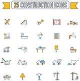 Linea piana icona di industria del cantiere di ingegneria e di colore illustrazione di stock