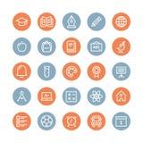 Linea piana icone degli oggetti di istruzione illustrazione di stock