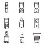 Linea piana icone del dispositivo di raffreddamento di acqua Immagini Stock Libere da Diritti