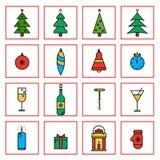 Linea piana icone del nuovo anno e di Natale nella progettazione minimalistic Fotografie Stock