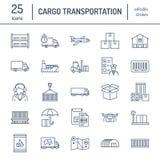 Linea piana icone del trasporto del carico Trasportando, consegna precisa, logistica, trasporto, sdoganamento, carichi Fotografia Stock