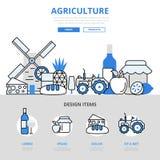 Linea piana icone dell'alimento di agricoltura di concetto naturale dell'azienda agricola di vettore di arte illustrazione vettoriale