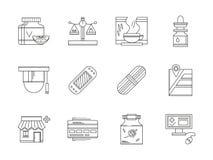 Linea piana icone della farmacia messe Immagini Stock