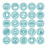 Linea piana icone della lettiera I materassi di ortopedia, la tela della camera da letto, i cuscini, strati illustrazioni mettono Immagine Stock Libera da Diritti