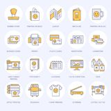 Linea piana icone della stamperia Attrezzatura del negozio di stampa - stampante, analizzatore, macchina da stampa offset, tracci royalty illustrazione gratis