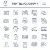 Linea piana icone della stamperia Attrezzatura del negozio di stampa - stampante, analizzatore, macchina da stampa offset, tracci illustrazione vettoriale