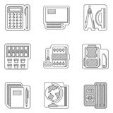 Linea piana icone delle materie d'insegnamento Fotografia Stock Libera da Diritti