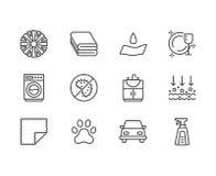 Linea piana icone delle proprietà del panno di Microfiber Materiale assorbente, pulizia della polvere, detersivo lavabile, antiba illustrazione di stock
