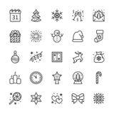 Linea piana icone di Buon Natale Il pino, fiocco di neve, borsa dei presente, invito del partito, pupazzo di neve, accende le ghi illustrazione vettoriale