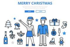 Linea piana icone di concetto di Buon Natale di vettore di arte illustrazione vettoriale