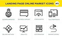 Linea piana icone di concetto di progetto per acquisto online, l'insegna del sito Web e la pagina di atterraggio Immagine Stock Libera da Diritti