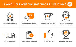 Linea piana icone di concetto di progetto per acquisto online, l'insegna del sito Web e la pagina di atterraggio Immagini Stock
